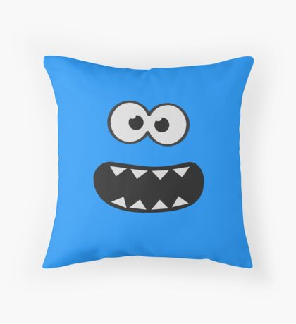 Funny Monster Smiley (Om Nom Nom Style) Face (blue background) Throw Pillow