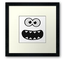 Funny Monster Smiley (Om Nom Nom Style) Face (blue background) Framed Print