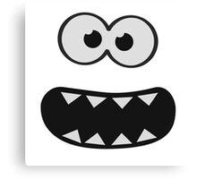 Funny Monster Smiley (Om Nom Nom Style) Face (blue background) Canvas Print