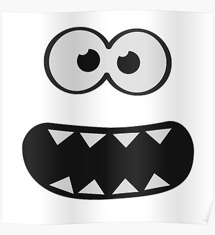 Funny Monster Smiley (Om Nom Nom Style) Face (blue background) Poster