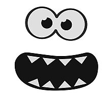 Funny Monster Smiley (Om Nom Nom Style) Face (blue background) Photographic Print