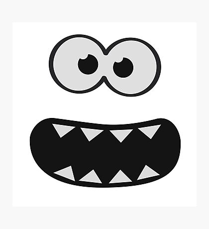 Funny Monster Smiley (Om Nom Nom Style) Face (blue background) Photographic Print