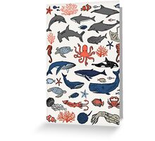Ocean Animals by Andrea Lauren Greeting Card