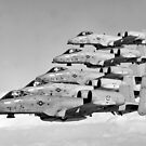 A-10 Warthogs Flying In Formation by warishellstore