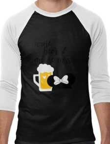 Wine, Beer & Mouse Ears for Girls by Last Petal Tees Men's Baseball ¾ T-Shirt