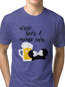 Wine, Beer & Mouse Ears for Girls by Last Petal Tees Tri-blend T-Shirt