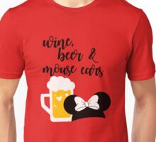 Wine, Beer & Mouse Ears for Girls by Last Petal Tees Unisex T-Shirt