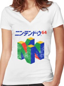 Japanese Nintendo 64 Women's Fitted V-Neck T-Shirt