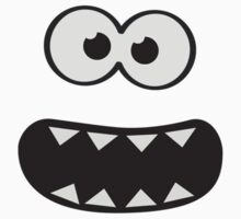 Funny Monster Smiley (Om Nom Nom Style) Face (blue background) Kids Tee