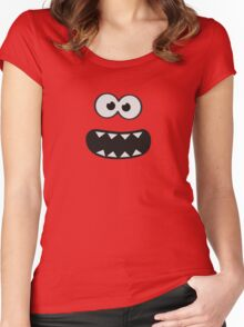 Funny Monster Smiley (Om Nom Nom Style) Face (blue background) Women's Fitted Scoop T-Shirt