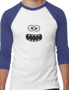 Funny Monster Smiley (Om Nom Nom Style) Face (blue background) Men's Baseball ¾ T-Shirt