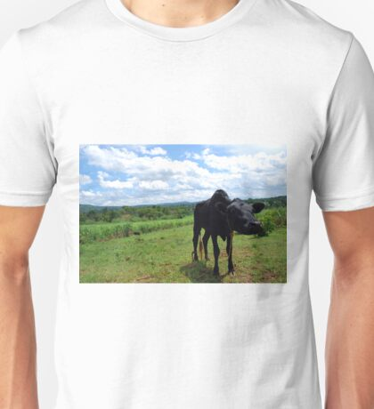 Black Calf in Field Unisex T-Shirt
