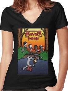 Calvin and Hobbes in the Upside Down Women's Fitted V-Neck T-Shirt