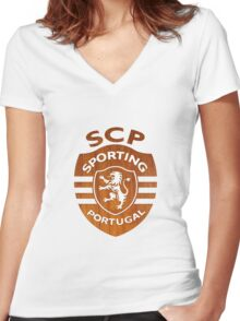 Sporting Clube de Portugal Women's Fitted V-Neck T-Shirt