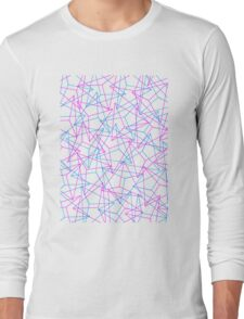Abstract Geometric 3D Triangle Pattern in Blue  Pink Long Sleeve T-Shirt