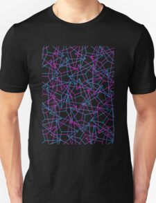 Abstract Geometric 3D Triangle Pattern in Blue  Pink Unisex T-Shirt