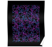 Abstract Geometric 3D Triangle Pattern in Blue  Pink Poster