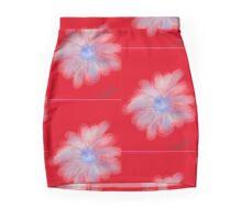 White flower on red background Mini Skirt