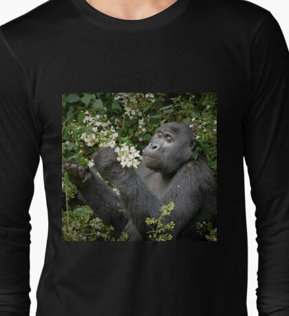 mountain gorilla eating flowers, Uganda Long Sleeve T-Shirt