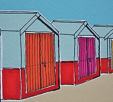 Beach Huts ( Card ) by Adam Regester