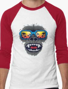 Gorilla monkey with tropical sunglasses Men's Baseball ¾ T-Shirt