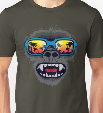 Gorilla monkey with tropical sunglasses Unisex T-Shirt