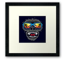 Gorilla monkey with tropical sunglasses Framed Print
