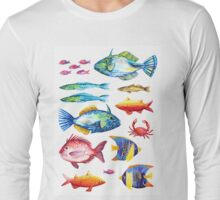 Botanical colorful fish group watercolor Long Sleeve T-Shirt