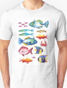 Botanical colorful fish group watercolor Unisex T-Shirt