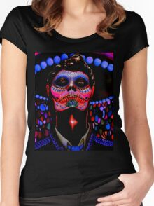 Day of the Dead; Black Light Dead Guy Women's Fitted Scoop T-Shirt