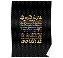 It will hurt... Gym Motivational Quote Poster