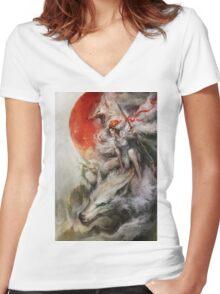 Princess Mononoke – Wolf Rider Women's Fitted V-Neck T-Shirt