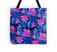 Fasciata Tropical Floral - Mid Blue/Pink Tote Bag