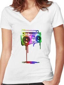 Melting Boombox (digital rainbow lookssa) Women's Fitted V-Neck T-Shirt