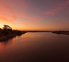 Sunset on the River Murray, Murray Bridge SA by Mark Richards