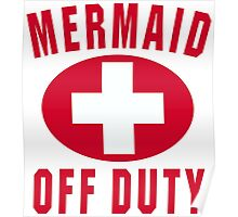 Mermaid Off Duty Red Poster