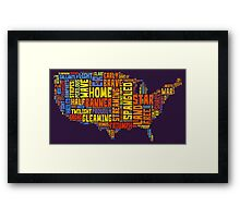 United States of America Map Star Spangled Banner Typography Framed Print