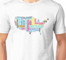 United States Map Declaration of Independence Typography  Unisex T-Shirt