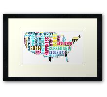 United States Map Declaration of Independence Typography  Framed Print