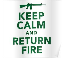 Funny 'Keep Calm and Return Fire' Machine Gun T-Shirt Poster
