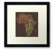 Africa Typography Map All Countries Framed Print