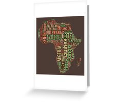 Africa Typography Map All Countries Greeting Card