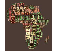 Africa Typography Map All Countries Photographic Print