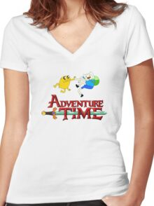 Adventure time high Women's Fitted V-Neck T-Shirt