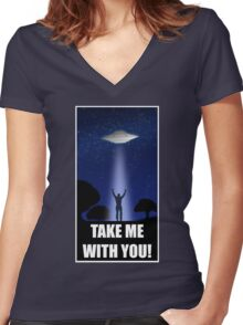 UFO Take Me With You!  Women's Fitted V-Neck T-Shirt