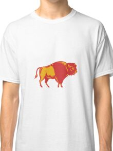 American Bison Side Woodcut Classic T-Shirt