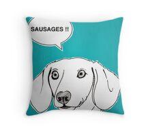 Sausages ( Teal ) Throw Pillow