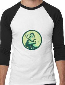 Triton Arms Crossed Trident Circle Retro Men's Baseball ¾ T-Shirt