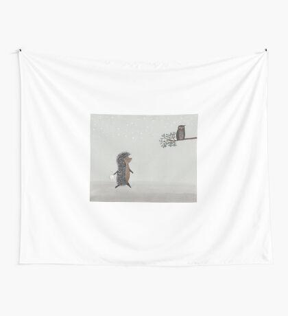 Nursery art - Owl and hedgehog in the fog Wall Tapestry