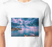 Dawn cloud breaks at Cala d'Enmig Unisex T-Shirt